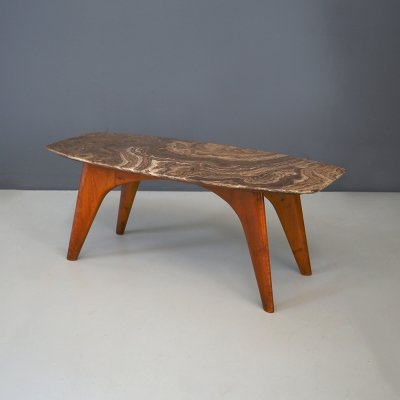 Rare table by Paolo Buffa in lunar marble, 1950s