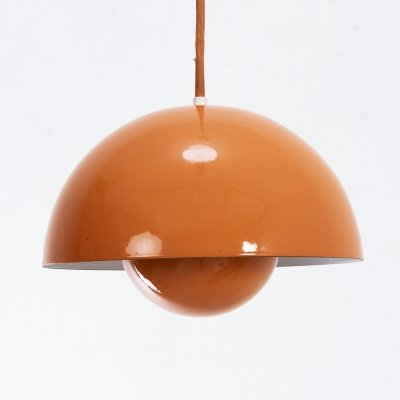 2 x Orange Flowerpot by Verner Panton for Louis Poulsen, 1960s
