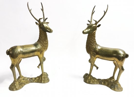 Pair of Large brass deer sculptures, 1970s