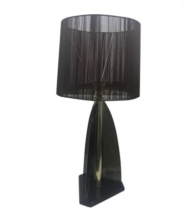 Van Teal Smoked Lucite & brass American Table Lamp, circa 1980