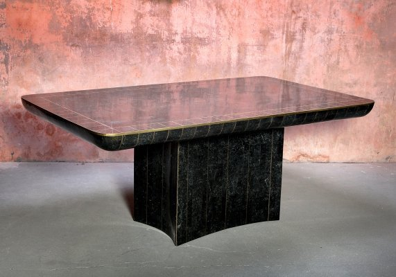 Maitland Smith Tessellated Marble Hollywood Regency XL Black Dining Table, 1970s