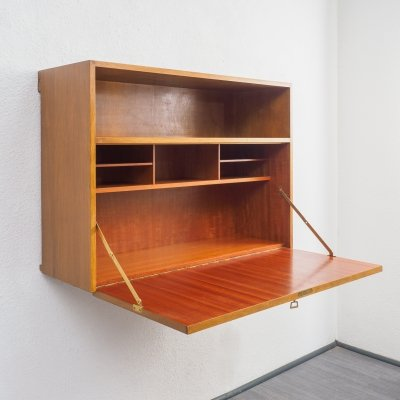 Midcentury wall bureau / wall storage in walnut, 1950s