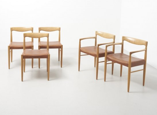 Set of 5 dining chairs in oak by Henry W. Klein