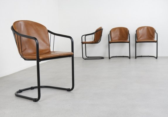Set of 4 cantilever dining chairs by Gastone Rinaldi for Fasem, Italy 1980/1990