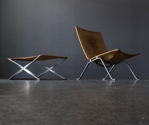PK22 lounge chair + PK91 Stool by Poul Kjærholm for E. Kold Christensen