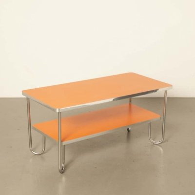 Modern Bauhaus style coffee table in orange