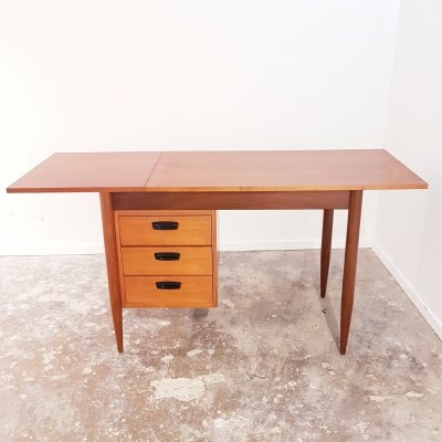 Elegant small ladies or students teak drop leaf desk by HMF (Haagse Meubelfabriek), Netherlands 1960s