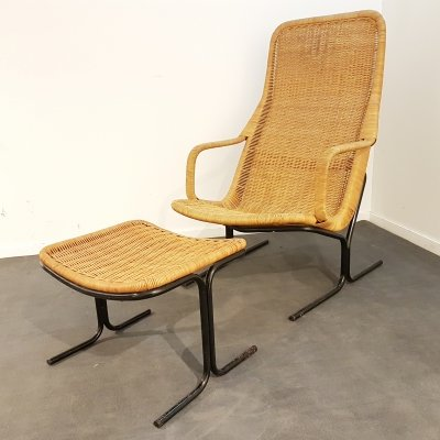 Rattan lounge chair & hocker designed by Dirk van Sliedregt for gebr. Jonkers