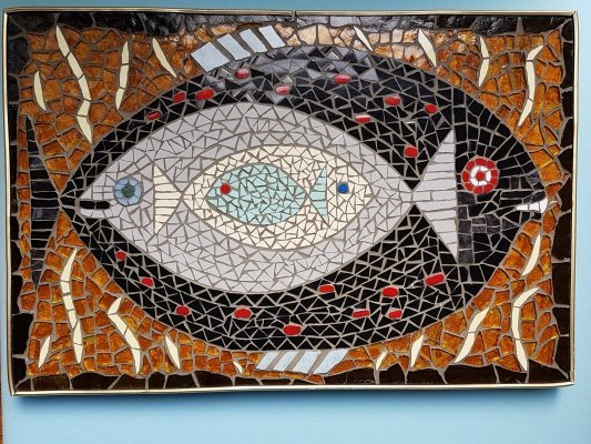 Mosaic mid century wall hanging depicting fishes