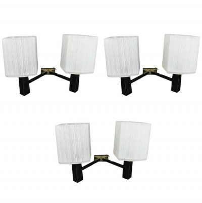 Set of Three Mid-Century Modern Wall Sconces, Italy 1950