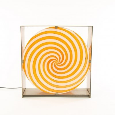 Orange spiral table lamp LT 217 in Murano glass by Carlo Nason for A.V. Mazzega