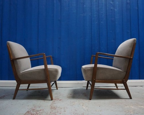 Pair of Mid Century Danish Armchairs in Cappuccino Velvet, 1960s