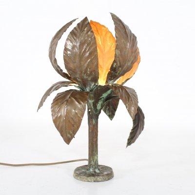 Brutalist copper flower lamp