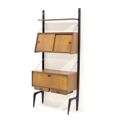 Mid Century Teak Wall Unit by Louis van Teeffelen for WeBe, 1950's