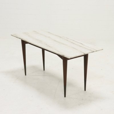 Mid Century Teak & marble Side table, 1960s