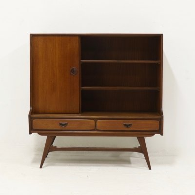 Mid Century Teak Bookcase Cabinet by Louis van Teeffelen for WeBe, 1950's
