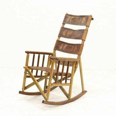 Bohemian Foldable Campaign Style Rocking Chair in Leather, 1970s
