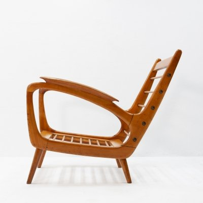 One off solid teak lounge chair signed Mesker The Hague