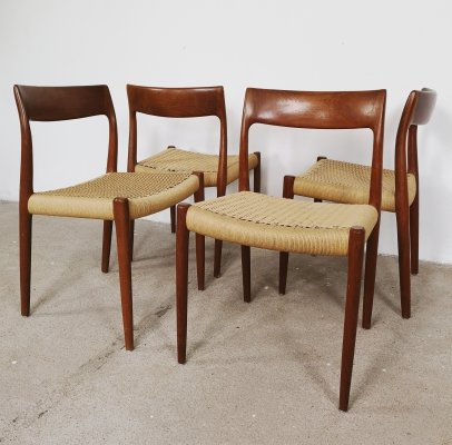 Set of 4 No. 77 dining chairs by Niels O. Møller for JL Møllers Møbelfabrik, 1960s