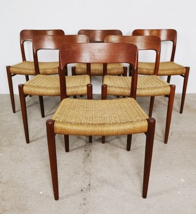 6 x No. 75 dining chair by Niels O. Møller for J L Møller, 1960s