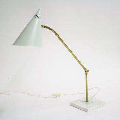 Vintage brass & marble table lamp, 1960s