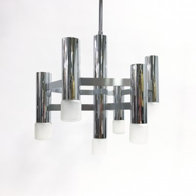 Vintage chrome 7 lightpoint chandelier by Gaetano Sciolari, 1970s
