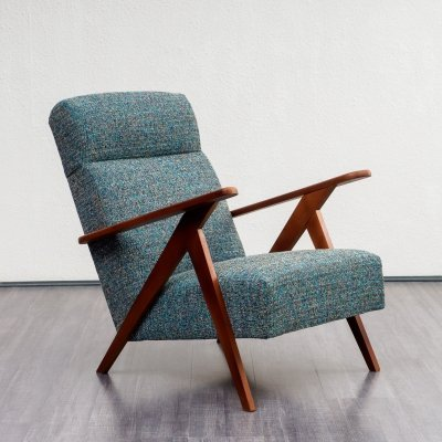 Armchair in solid wood with scissor legs, 1950s