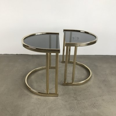 Vintage Brass & Smoked Glass tables, Belgium 1970s