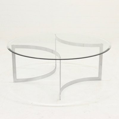 Minimalist Brushed Metal & Glass Coffee Table by Paul Legeard, 1970s