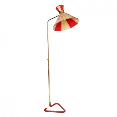 Brass Floor Standing Lamp with Original Shade