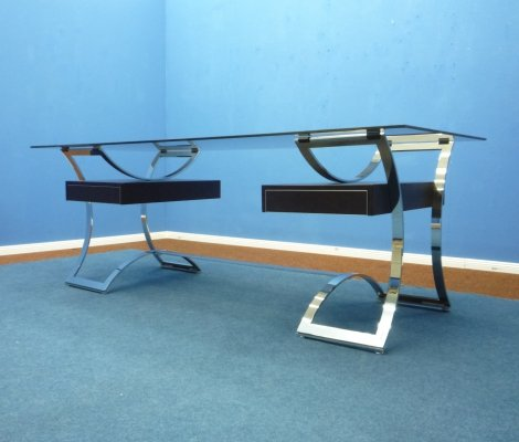 Leather & Flat Steel Desk from Dassas, France 1960s