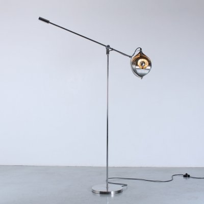 Rare Steel twirling floor light by Henri Mathieu, 1970s