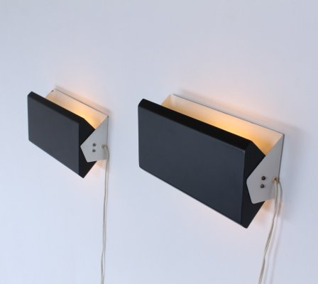 Pair of large black & white 'Model 7016' Anvia Hoogervorst sconces, 1950s