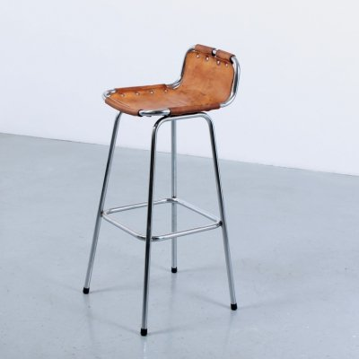 Les arcs Perriand leather bar stool, 1970s