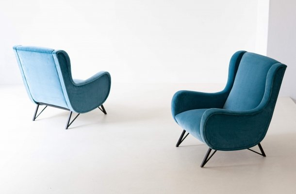 Pair of Rare Italian Light Blue Velvet Lounge Chairs, 1950s