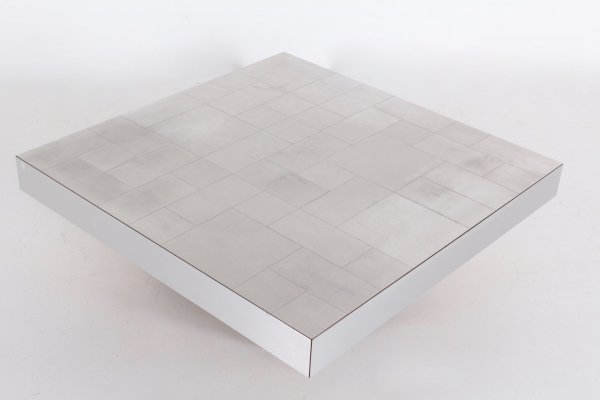 Chessboard brushed aluminum coffee table