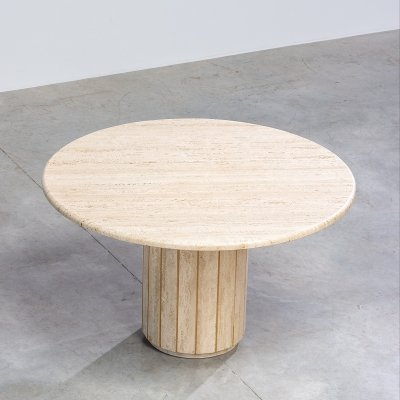 Architectural round travertine dining table or console, 1970s