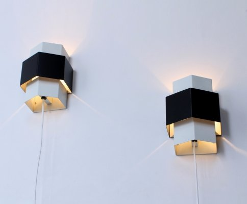 Pair of black & white hexagonic sconces by Anvia, 1960s