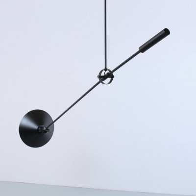 Black counter balance ceiling light by J. Hoogervorst for Anvia, 1960s