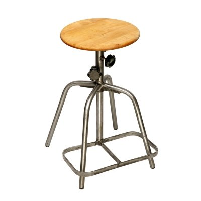 Industrial steel stool, Poland 1970s