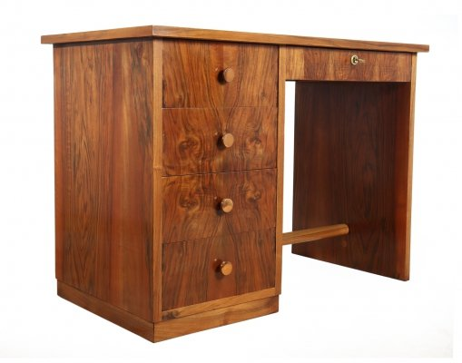 Art Deco Walnut Desk with leather inset top, c1930