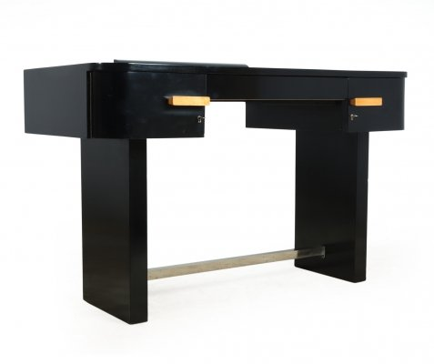 Art Deco Desk in Piano lacquer black finish with leather inset top