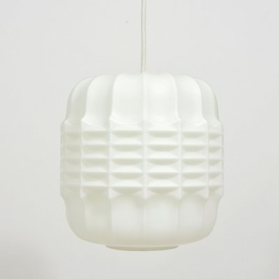 1970s Vintage White Glass Pendant With Plastic Pattern