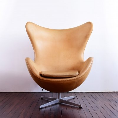 Egg Chair by Arne Jacobsen in brown natural leather, 1990s