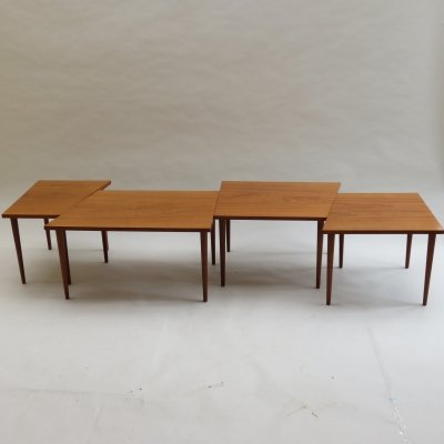 Scandinavian Long Teak Coffee Table / Nest of Tables, 1960s