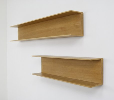 Vintage pair of wall shelves in light oak by Walter Wirz for Wilhelm Renz, 1960s