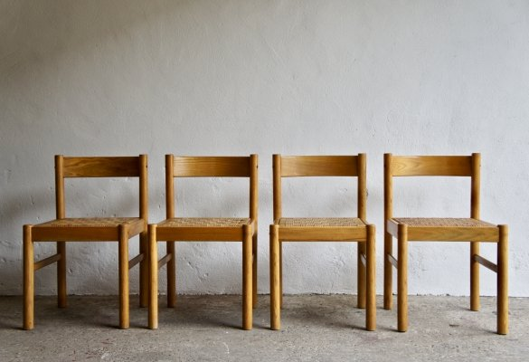 Set of 4 Modernist Wicker Chairs, 1970s