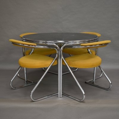 Italian dining set in chrome & smoked glass, 1970s