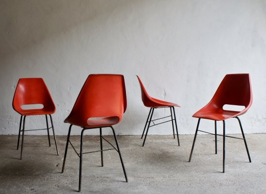 Set of 4 Midcentury Red Fibreglass Chairs