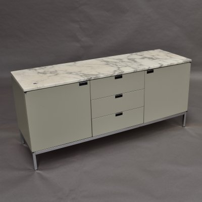 Florence Knoll credenza in pastel grey/green & marble, USA 1961
